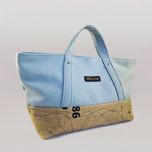 Bolso Slowly Light Blue tela arpillera