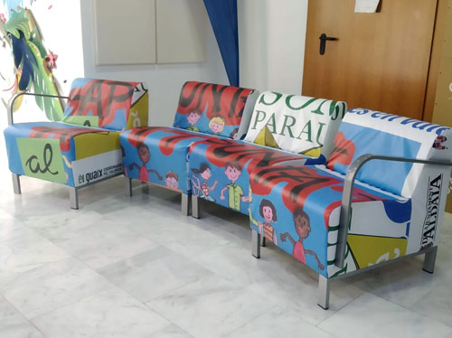 Sillones con el tapizado reciclado